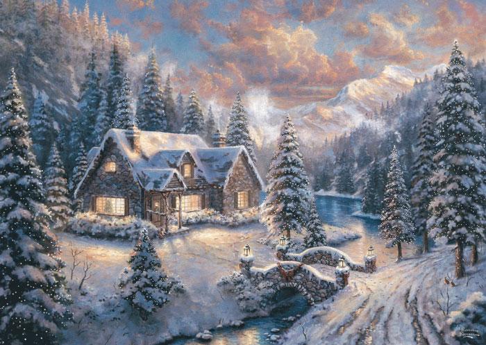 Puzzle Schmidt Montañas Nevadas en Navidad de 1000 Piezas