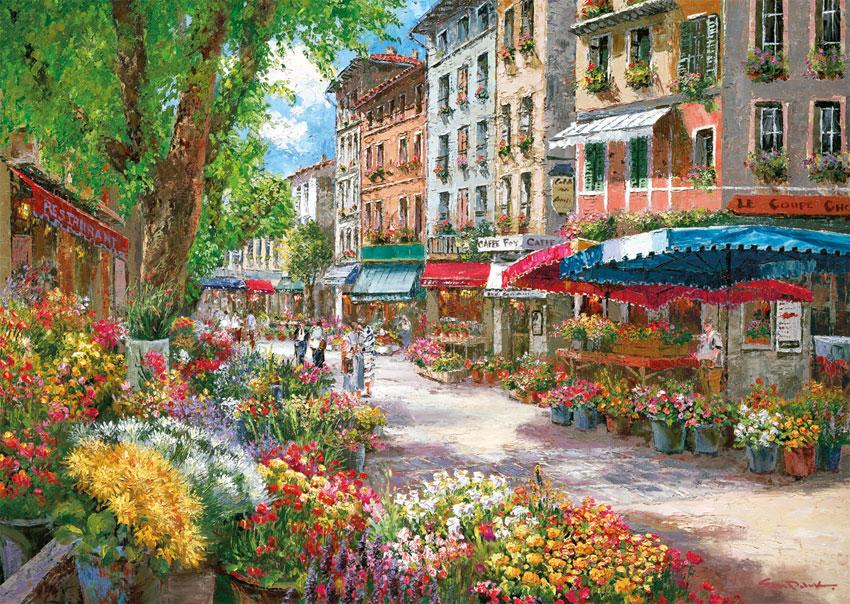 Puzzle Schmidt París, Mercado de Flores de 1000 Piezas