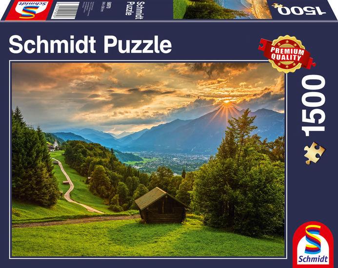 Puzzle Schmidt Puesta de Sol sobre Wamberg de 1500 Piezas