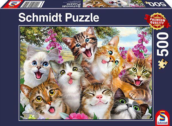 Puzzle Schmidt Selfie de Gatos de 500 Piezas