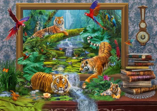 Puzzle Schmidt Tigres en la Jungla de 1000 Piezas