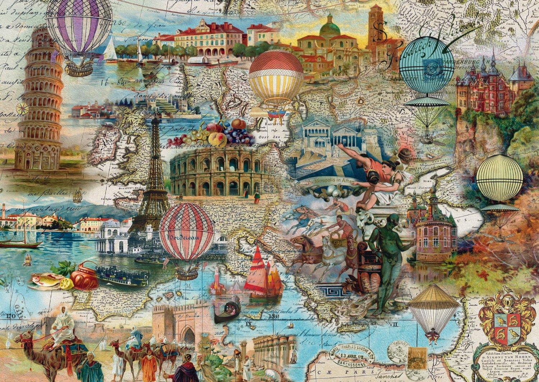 Puzzle Schmidt Viaje en Globo por Europa de 1000 Piezas