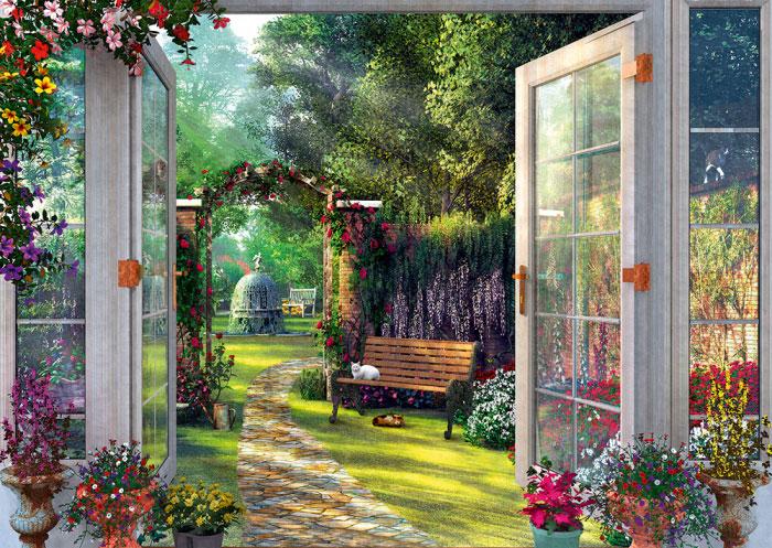 Puzzle Schmidt Vista del Jardín Encantado de 1000 Piezas