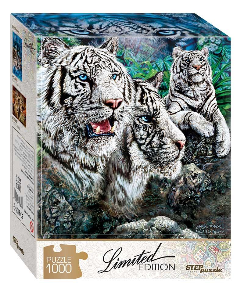 Puzzle Step Puzzle Encuentra 13 Tigres Albinos de 1000 Piezas