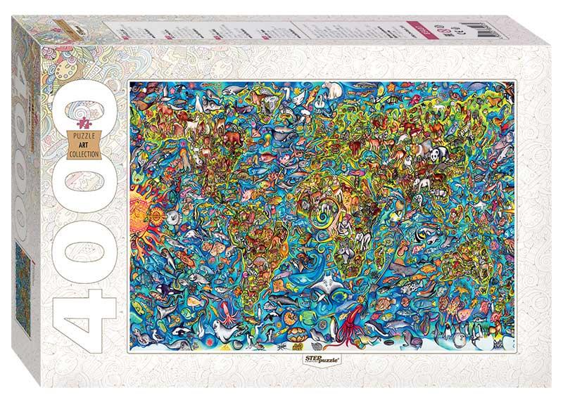 Puzzle Step Puzzle Mapa del Mundo de 4000 Piezas