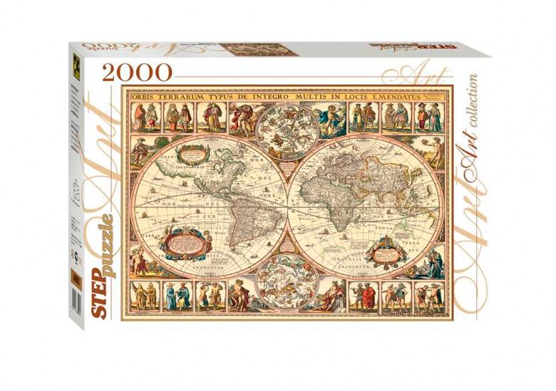 Puzzle Step Puzzle Mapa Histórico del Mundo de 2000 Piezas