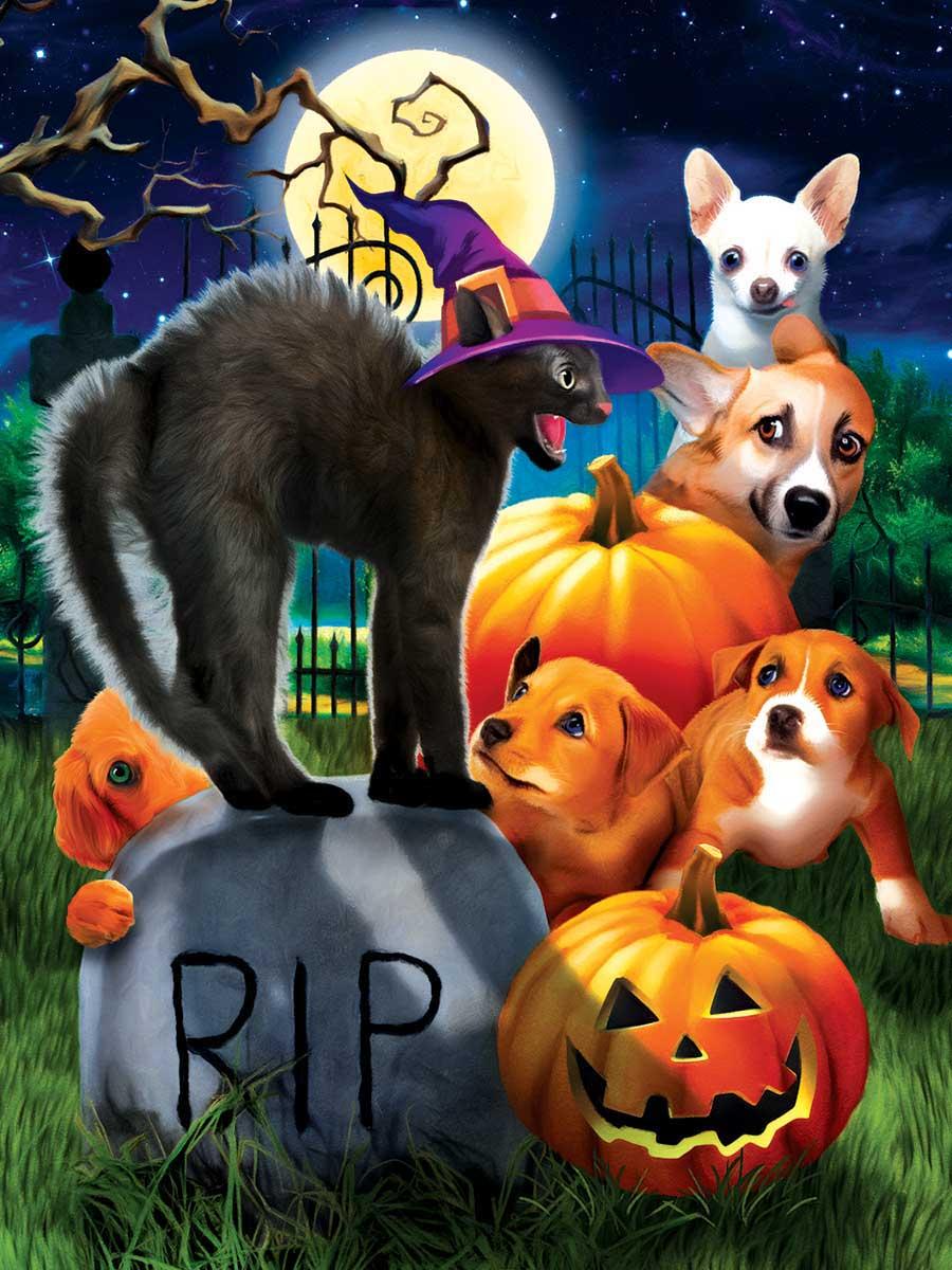Puzzle SunsOut Cachorros en Halloween XXL de 300 Piezas