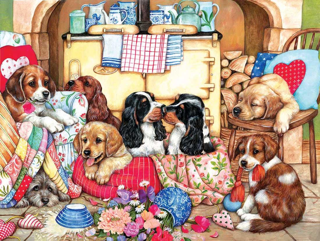 Puzzle SunsOut Cachorros en la Cocina XXL de 300 Piezas