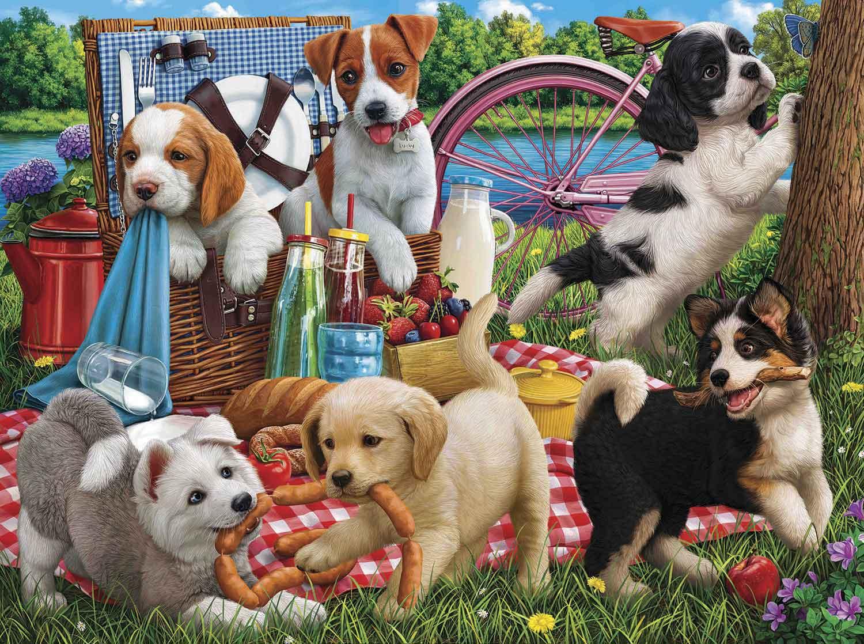 Puzzle SunsOut Cachorros en un Picnic de 500 Pzs