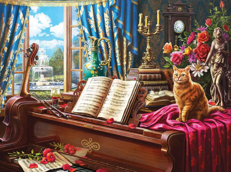 Puzzle SunsOut Gato y Piano de Cola de 1000 Piezas