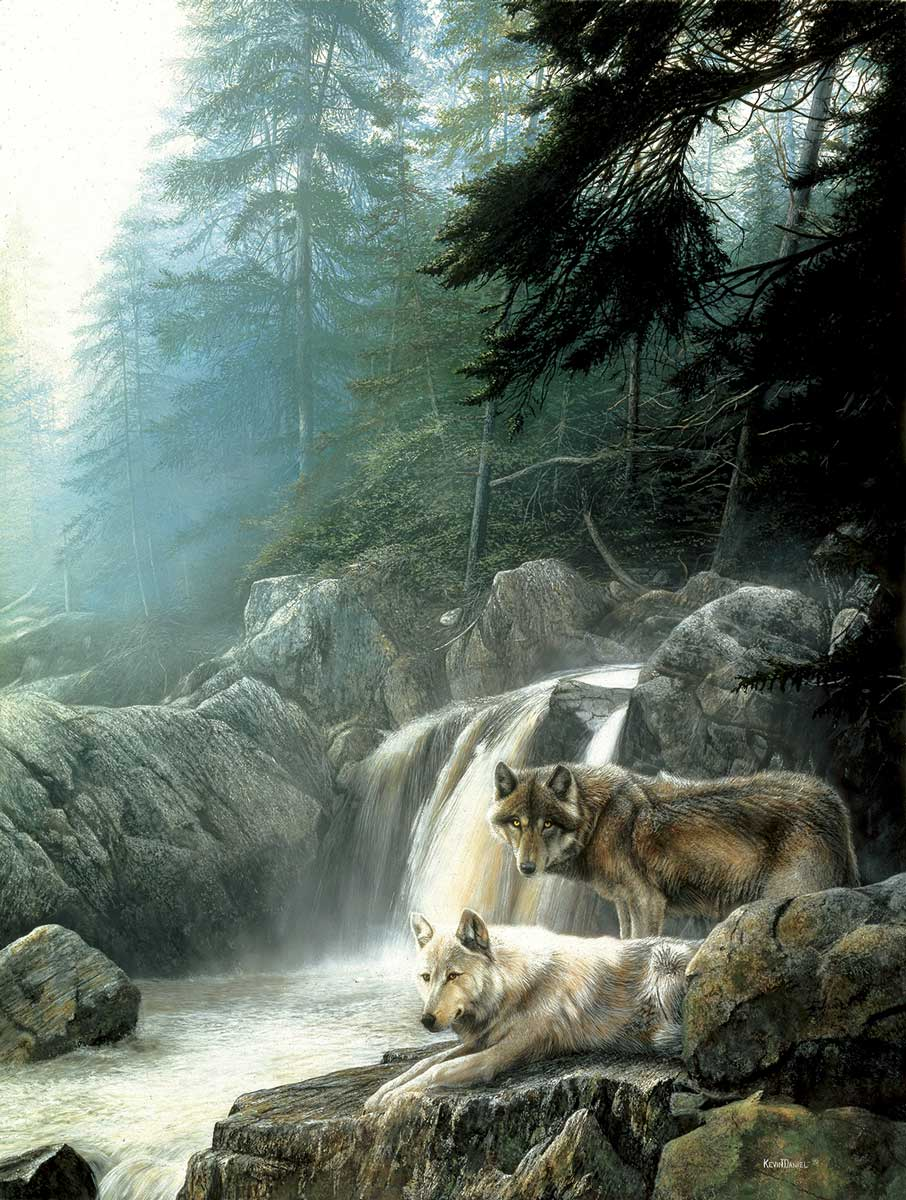 Puzzle SunsOut Lobos en la Cascada de 500 Piezas