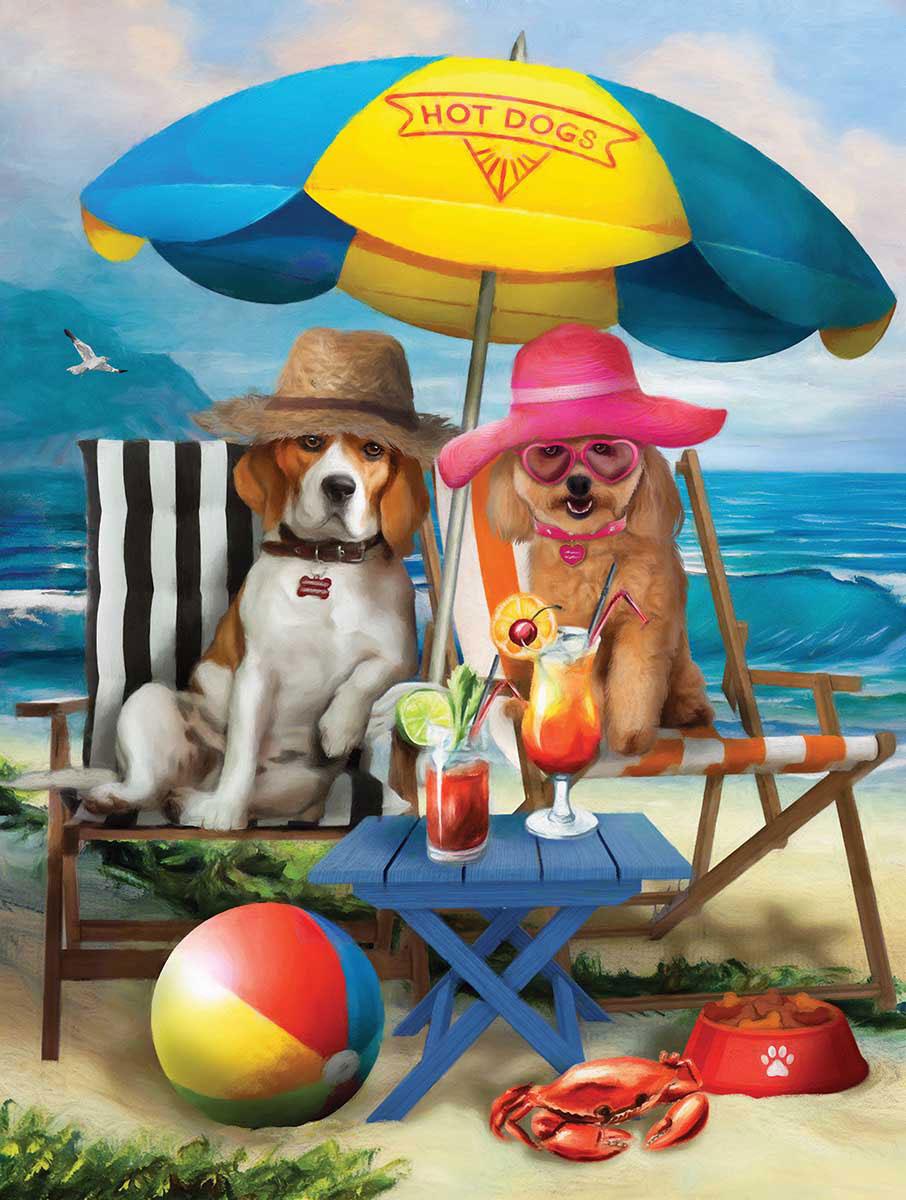 Puzzle SunsOut Perros en la Playa XXL de 300 Piezas