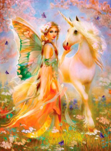 Puzzle SunsOut Princesas de Hadas y Unicornios de 1000 Piezas