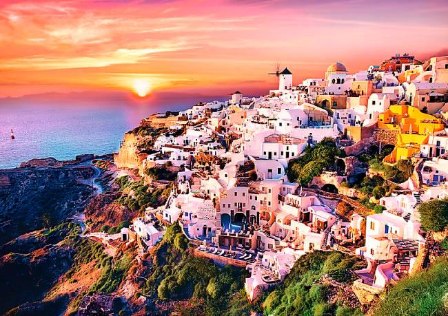 Puzzle Trefl Atardecer en Santorini de 1000 Piezas