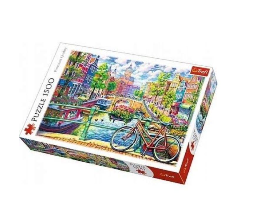Puzzle Trefl Bicicleta en el Canal de Amsterdam de 1500 Piezas