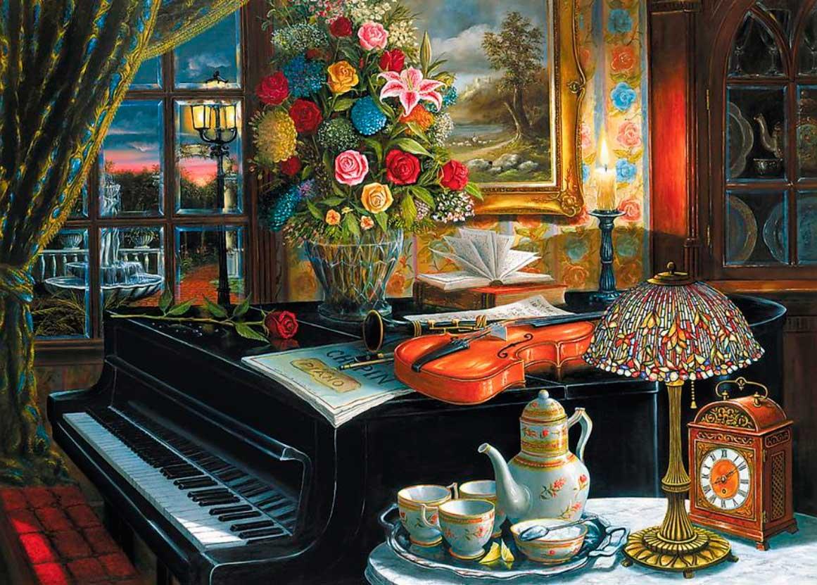 Puzzle Trefl Bodegón con Piano Violín y Flores de 2000 Piezas