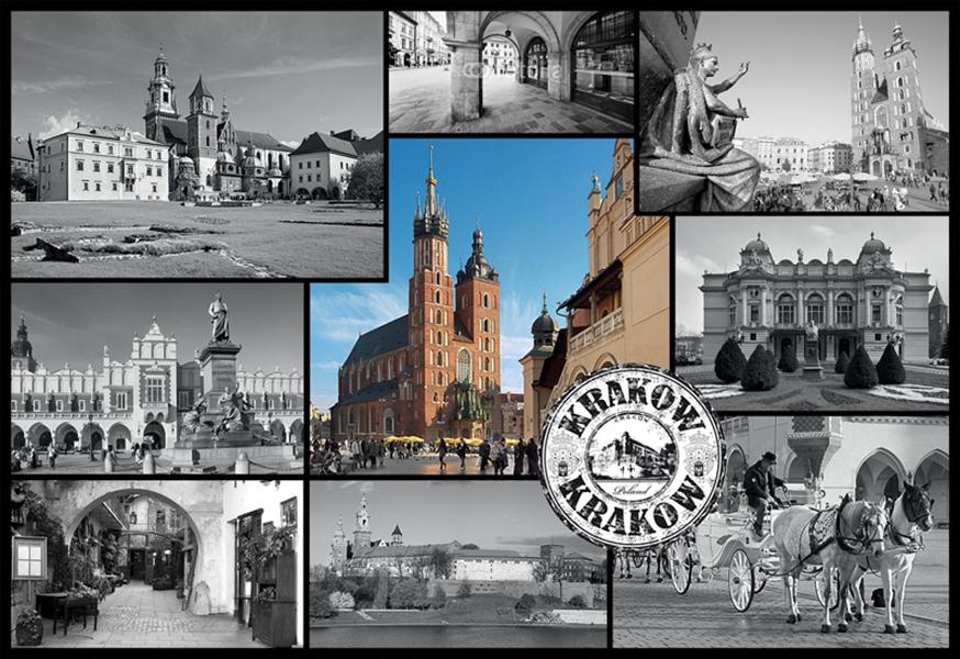 Puzzle Trefl Collage de Cracovia, Polonia de 1500 Piezas