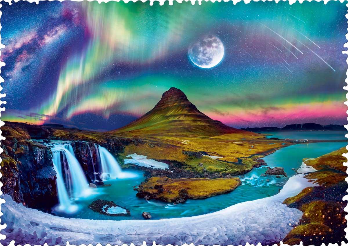 Puzzle Trefl Crazy Shapes Aurora Boreal Sobre Islandia de 600 Pz