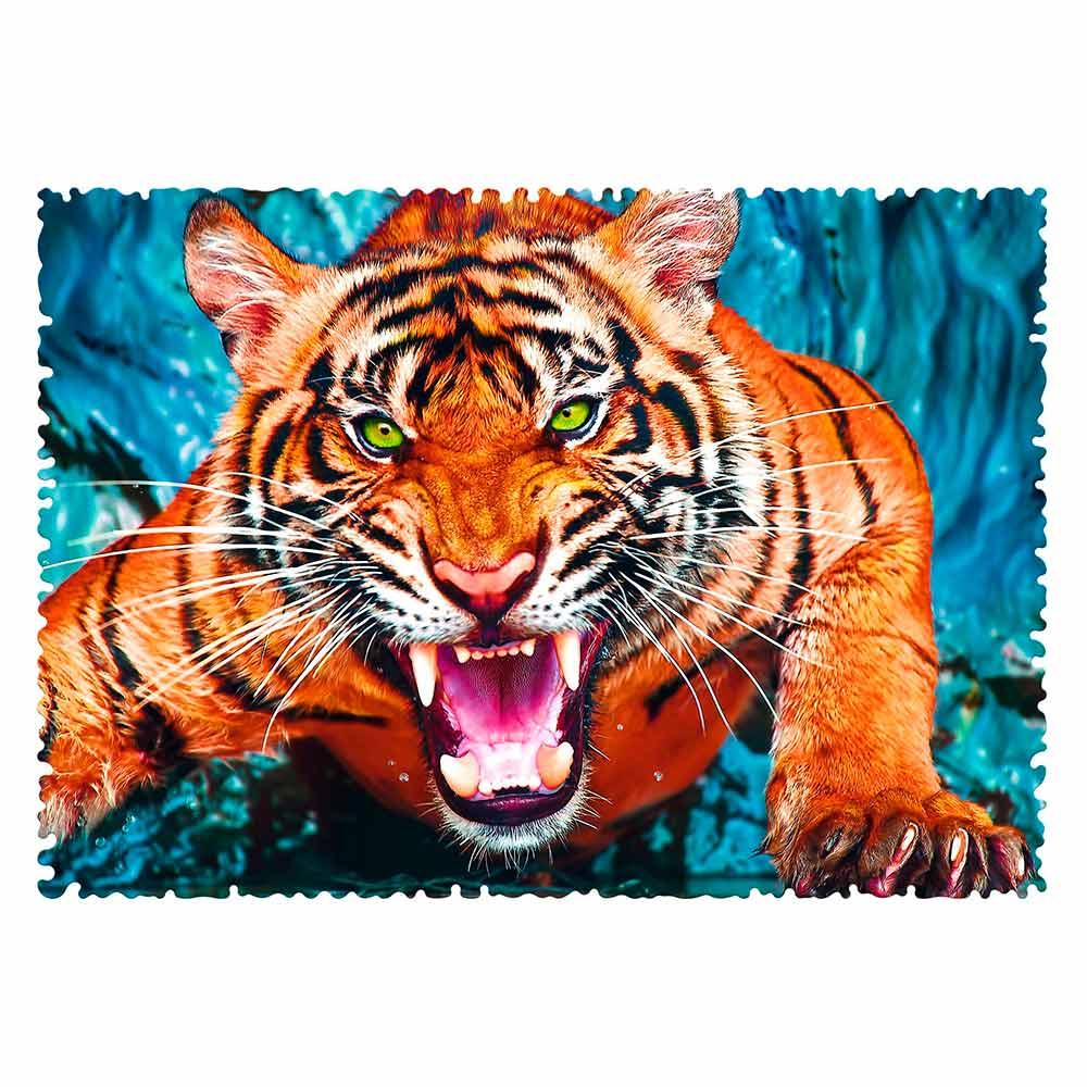 Puzzle Trefl Crazy Shapes Frente a un Tigre de 600 Pzs