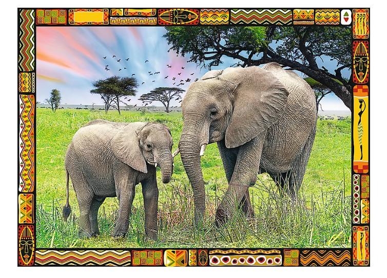 Puzzle Trefl Familia de Elefantes en la Sabana de 3000 Piezas