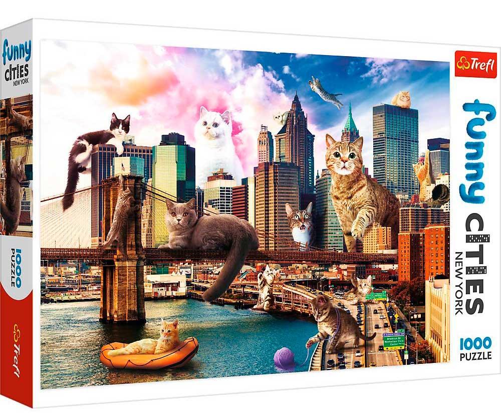 Puzzle Trefl Gatos en Nueva York de 1000 Piezas