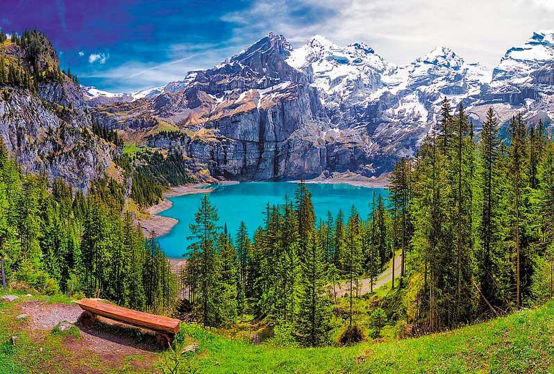 Puzzle Trefl Lago Oeschinen, Alpes Suizos de 1500 Piezas