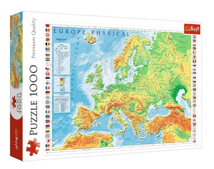 Puzzle Trefl Mapa Físico de Europa de 1000 Piezas