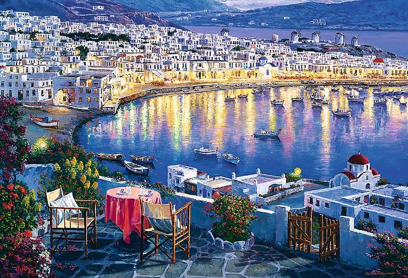 Puzzle Trefl Mikonos al Atardecer, Grecia de 1500 Piezas