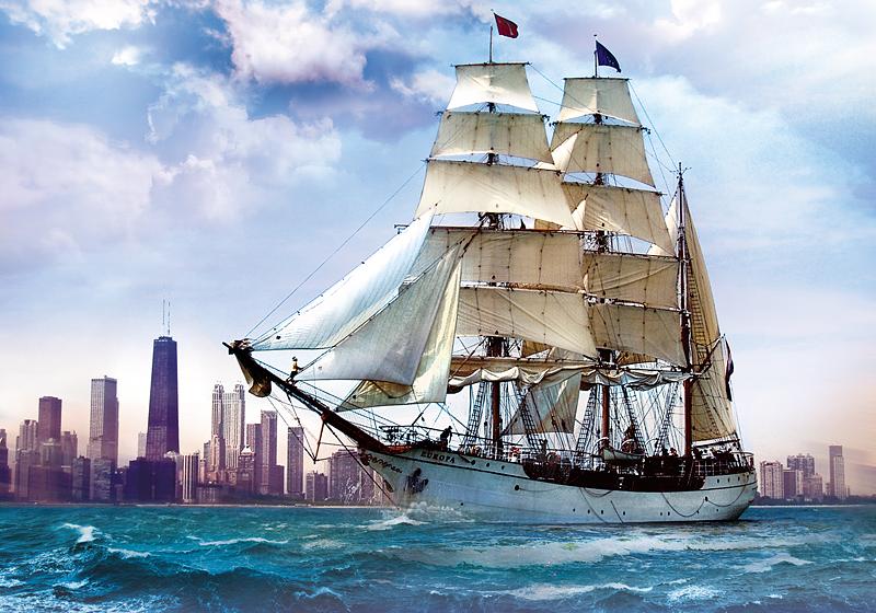 Puzzle Trefl Navegando sobre Chicago de 500 Piezas