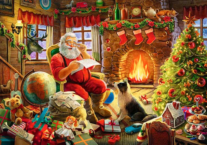 Puzzle Trefl Navidad junto a la Chimenea de 1000 Piezas
