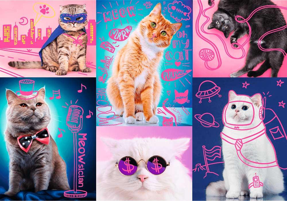 Puzzle Trefl Neón Super Gatos de 1000 Piezas