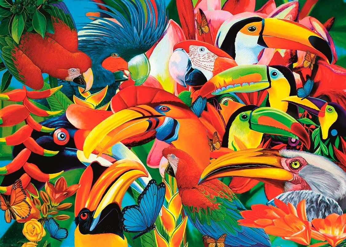 Puzzle Trefl Pájaros Llenos de Colores de 500 Piezas