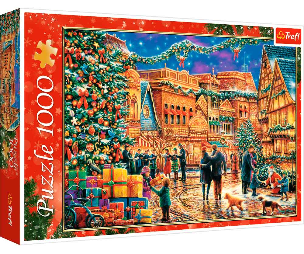 Puzzle Trefl Plaza del Pueblo en Navidad de 1000 Piezas
