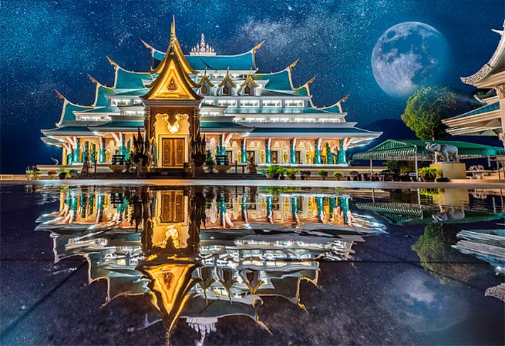 Puzzle Trefl Templo Wat Pa Phu Kon, Tailandia de 1500 Piezas